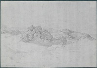 hügellandschaft in der serpentara bei olevano (+ stehende junge frau in tracht (studies), verso) by heinrich reinhold