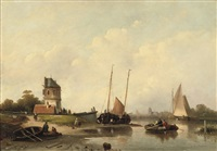 a summer's day on a riverbank by cornelis petrus t' hoen