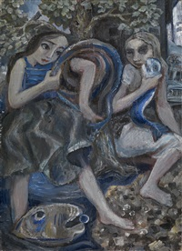 two girls with fish by vladimir piatnitsky