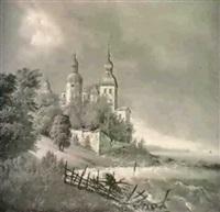 kystparti med slot, uvejrsstemning by carl anton saabye