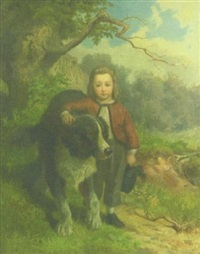 portrait of a boy with a dog by george frederick bensell