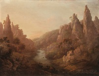 mountainscape with river by alexander nasmyth