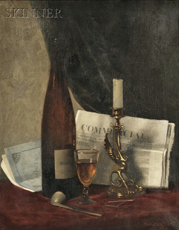 still life with newspaper candle pipe and wine glass by clarence drew bartlett