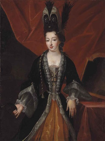 portrait of a lady in costume holding a mask in her right hand before a red curtain in an interior by pierre gobert