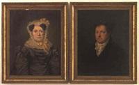 porträt af en dame i grå silkekjole og en herre i sort frakke by niels moe