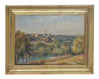 highgate church from the vale pond by james herbert snell