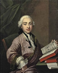 portrait of a young man in an embroidered pink and green robe and a lace cravat, holding a volumn of raberner's satires by johann georg ziesenis