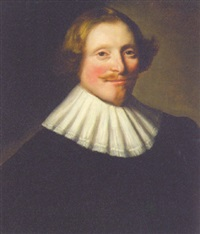 portrait of a gentleman in black costume and a white collar by abraham de vries