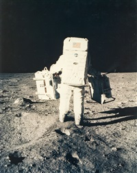 buzz aldrin walks away from the lm, apollo 11, july 1969 by neil armstrong