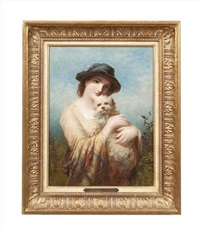 a fashionable lady with her dog by james john hill