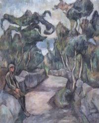 landskap med gutt by aage storstein