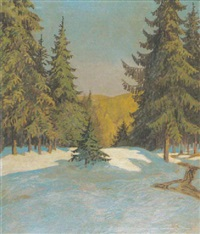 winterwald in der abendsonne by theodor hermann