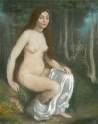 femme au bain dans un paysage by louis anquetin