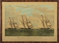 the great ocean yacht race between the henrietta, fleetwing and vesta by currier & ives (publishers)