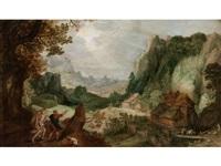 fantasielandschaft mit einem wanderer in begleitung des schutzengels by philips de momper the elder