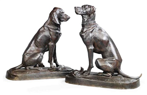 deux chiens assis pair by henri alfred marie jacquemart