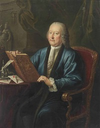 portrait of johan anthonie van kinschot (1708-1766), alderman of the city of delft, three-quarter-length, in a blue robe and a white chemise, seated at a desk with writing materials, holding a book embossed with his coat of ar by philippe lambert joseph spruyt