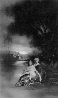 two young girls riding on the back of an oversized, painted fish by paul le boyer