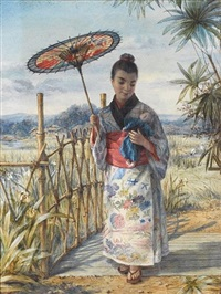 a japanese girl in kimono crossing a bridge by alphonse auguste joseph lemaire