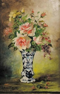 bouquet de roses dans un vase de delft by jules félix ragot
