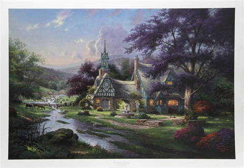 clocktower cottage by thomas kinkade on artnet rh artnet com thomas kinkade clocktower cottage puzzle