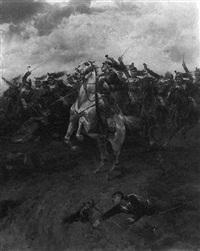 german cavallerists advancing by hendrik willem koekkoek