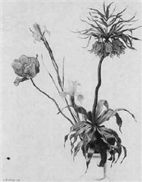 blumenstilleben mit kaiserkrone und iris by ludwig bartning