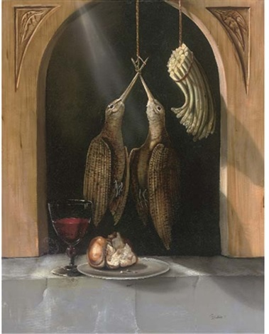 a brace of woodcock asparagus a glass of wine with bread on a platter in an alcove by paul karslake