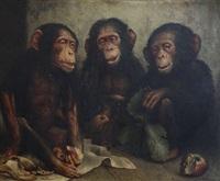 trois singes avec pommes et feuille de chou by joseph schippers