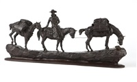 cowboy with two pack horses by earle erik heikka
