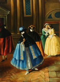 masqueraders at carnival (2 works) by pietro longhi
