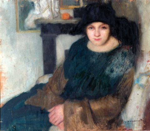 a woman with a hat by alfons karpinski