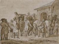 un homme à cheval pointant du doigt vers une écurie, entouré de cavaliers et de chevaux by jean henri marlet