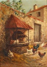les poules autour du puit by arsène symphorien sauvage