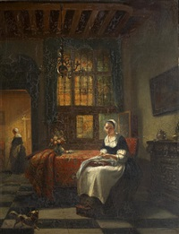 lady sewing beside a stained glass window by alois stanislas lion