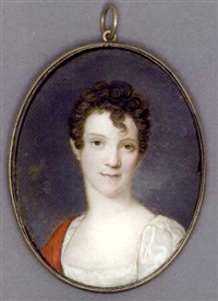 a young lady, in white silk dress with puff-sleeves, red stole draped over her right shoulder, short curling brown hair, cloudy sky background by heinrich jakob aldenrath