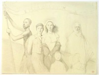 untitled (sketch for terrell place murals) (9 works) by bo bartlett