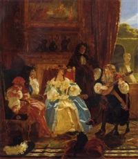 a musician serenading charles ii and nell gwynne as witnessed by john evelyn by edward matthew ward
