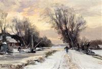 sneeuwlandschap met boerderij aan vaart by louis apol