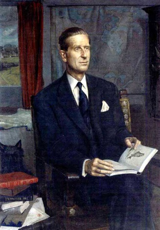 portrait of lord tweedsmuir, reading in a study by douglas anderson