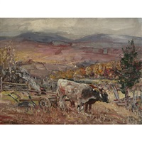 plowing, baie st. paul by frederick william hutchison