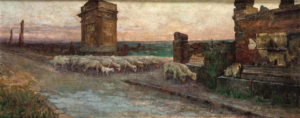 paesaggio con gregge by domenico pennachini