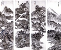 landscapes after ancient masters (set of 4, some with ink) by xue xuan