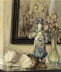 still life with a chinese figure, shells and flowers in a glass vase by marie van regteren altena