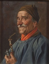 portrait of a man holding a pipe by franz xavier wölfle