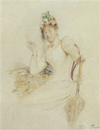 elegant lady with a cigarette by rudolf possin