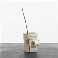 portable toilet and bamboo stick/pencil set by jason rhoades