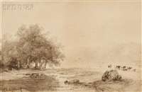 river landscape with cattle on a path by andreas schelfhout