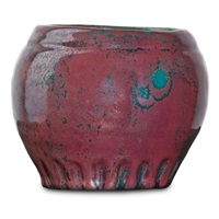 small vessel with incised decoration by pewabic pottery