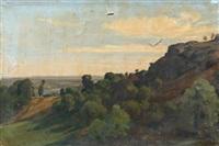paysage aux rochers dominant une rivière dans le limousin by francois antoine leon fleury
